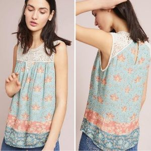 Anthropologie Maeve Lace Floral Top